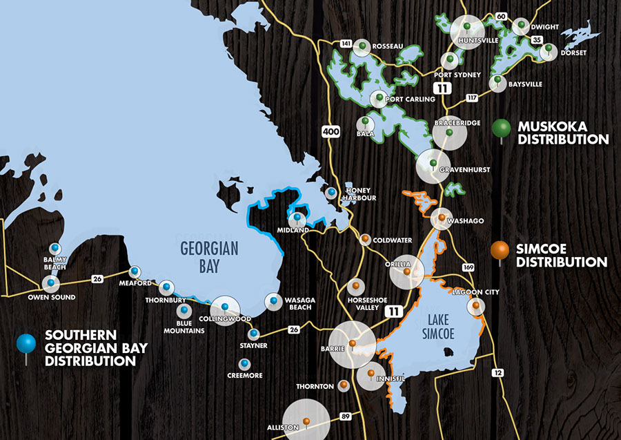 Dockside Magazine Distribution Map, Muskoka and Simcoe Regions. Delivery Routes
